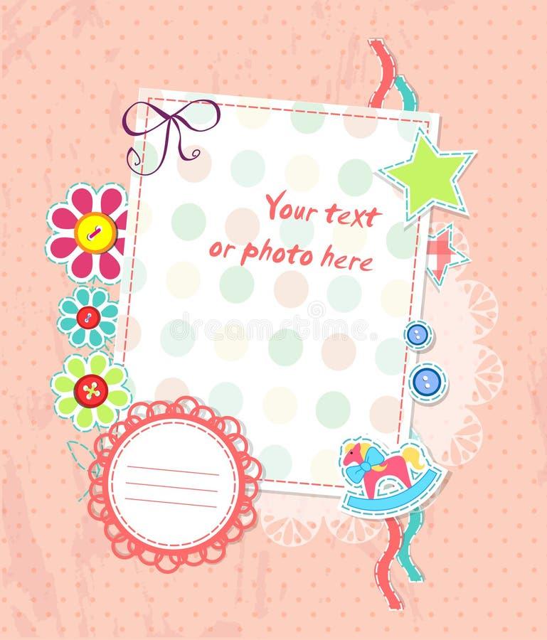 Vector scrapbooking kaart voor baby met tekst stock illustratie