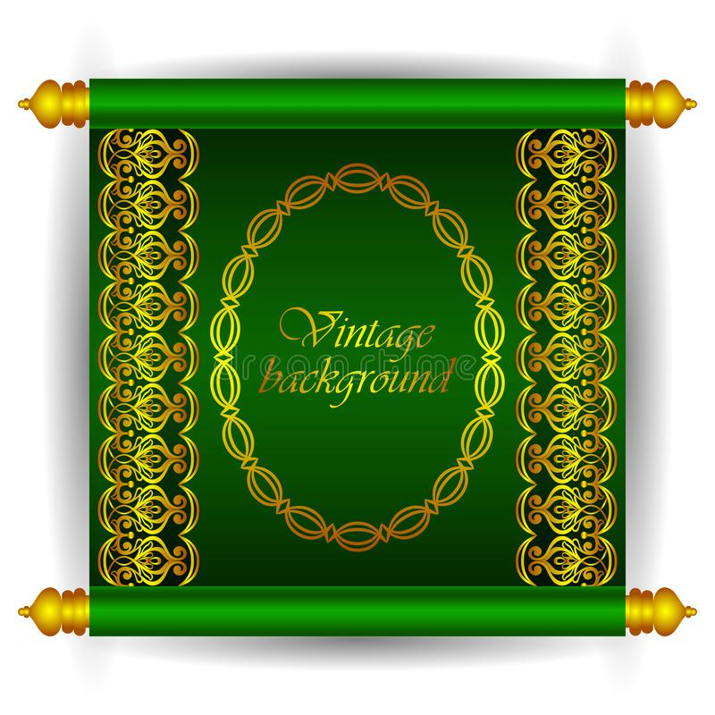 Vector scroll banner in royal luxury Moroccan Arabic style. Golden ribbon floral patterns on a green background. stock illustration