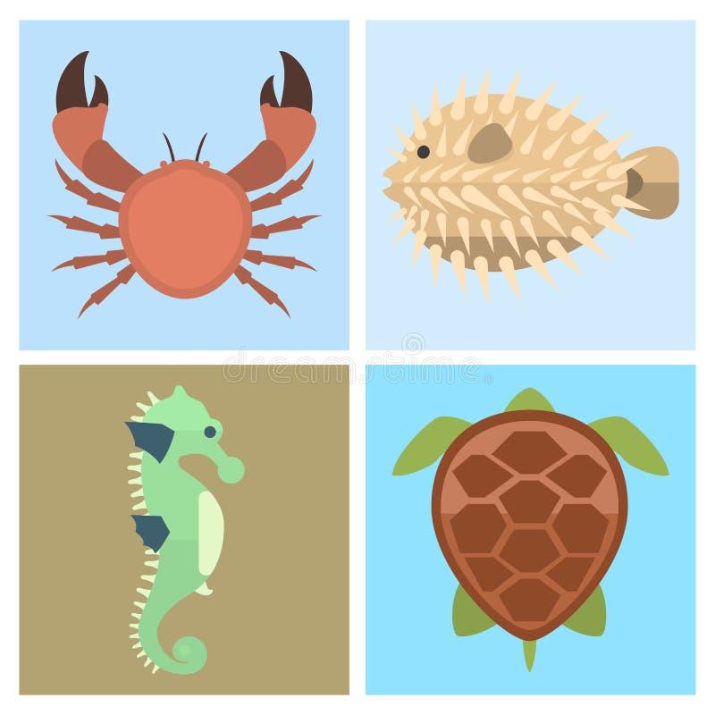 Vector sea animals creatures characters cartoon ocean underwater aquarium life water graphic aquatic tropical beasts. Vector set of cute sea animals creatures stock illustration