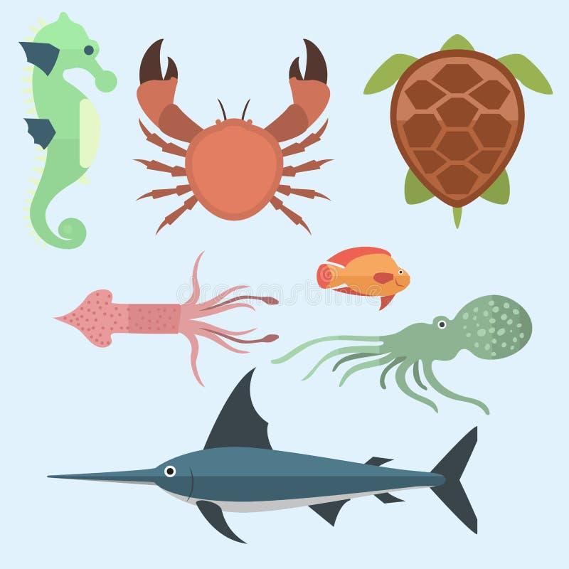 Vector sea animals creatures characters cartoon ocean underwater aquarium life water graphic aquatic tropical beasts. Vector set of cute sea animals creatures vector illustration