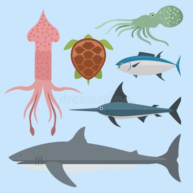 Vector sea animals creatures characters cartoon ocean underwater aquarium life water graphic aquatic tropical beasts. Vector set of cute sea animals creatures royalty free illustration