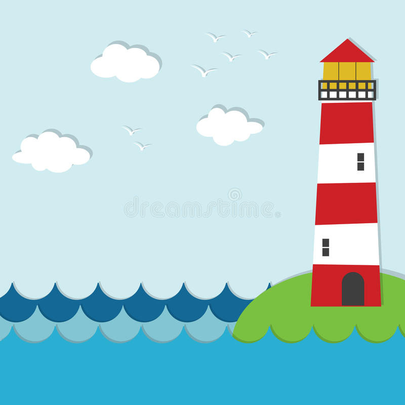 Vector sea applique landscape. Vector sea paper applique landscape royalty free illustration