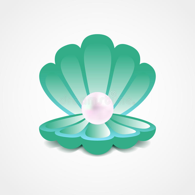 Vector sea-green shell with a pearl inside vector illustration