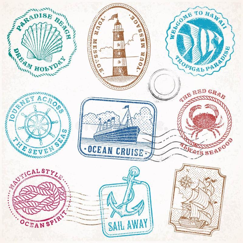 Vector sea journey vintage stamps royalty free illustration