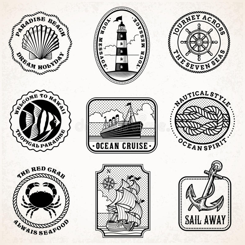 Vector sea journey vintage stamps royalty free illustration