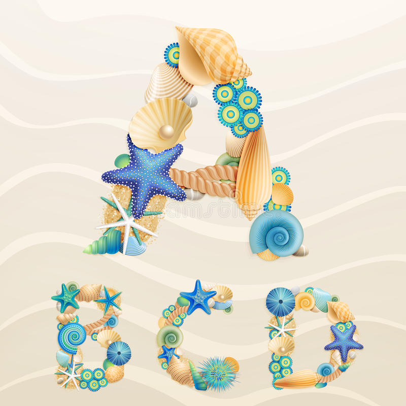 Vector sea life font on sand background vector illustration
