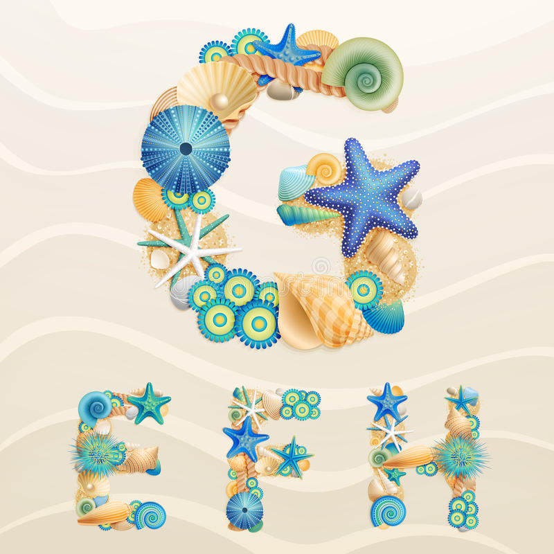 Download Vector Sea Life Font On Sand Background. Stock Vector - Image: 24554525