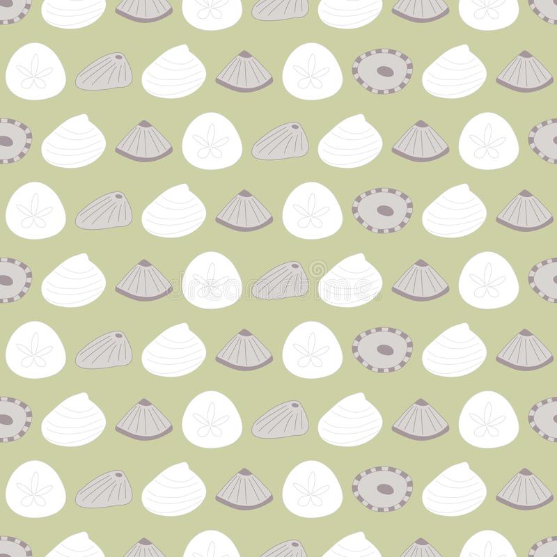 Vector Sea Shells in Green, White and Brown Seamless Repeat Pattern stock illustration