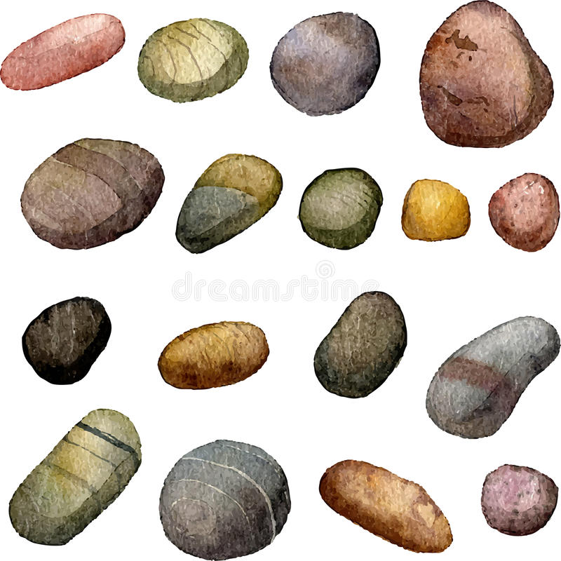 Vector sea stones drawing in watercolor. Pebbles at white background, hand drawn watercolor illustration vector illustration