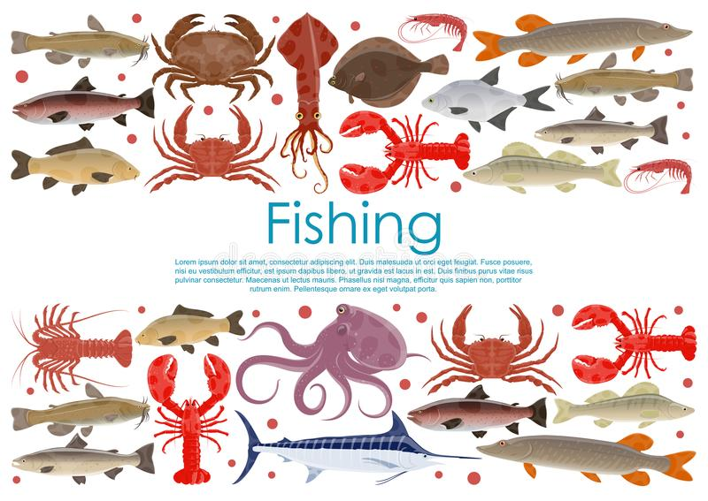 Vector seafood fishing poster of fresh fish. Seafood and fresh fish poster for fishing or fishery products. Vector flat design of fisherman catch squid, flounder stock illustration