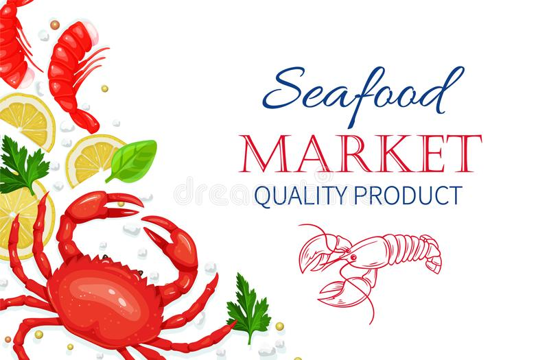 Vector seafood. Healthy food cooking concept. Vector seafood. Crab and shrimps with aromatic herbs and lemon. Healthy food cooking concept vector illustration