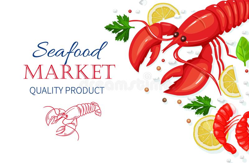 Vector seafood. Healthy food cooking concept. Vector seafood. Lobster and shrimps with aromatic herbs and lemon. Healthy food cooking concept vector illustration