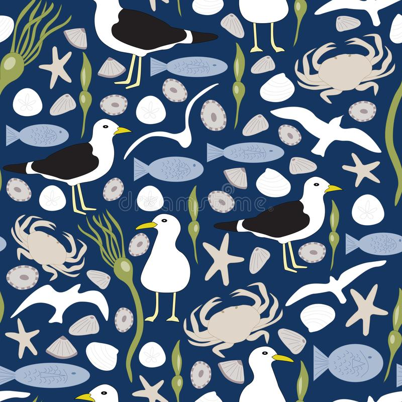 Vector Seagulls, Sea Shells, Fish, Seaweed, Crabs in Blue Green, Brown and White Seamless Repeat Pattern royalty free illustration