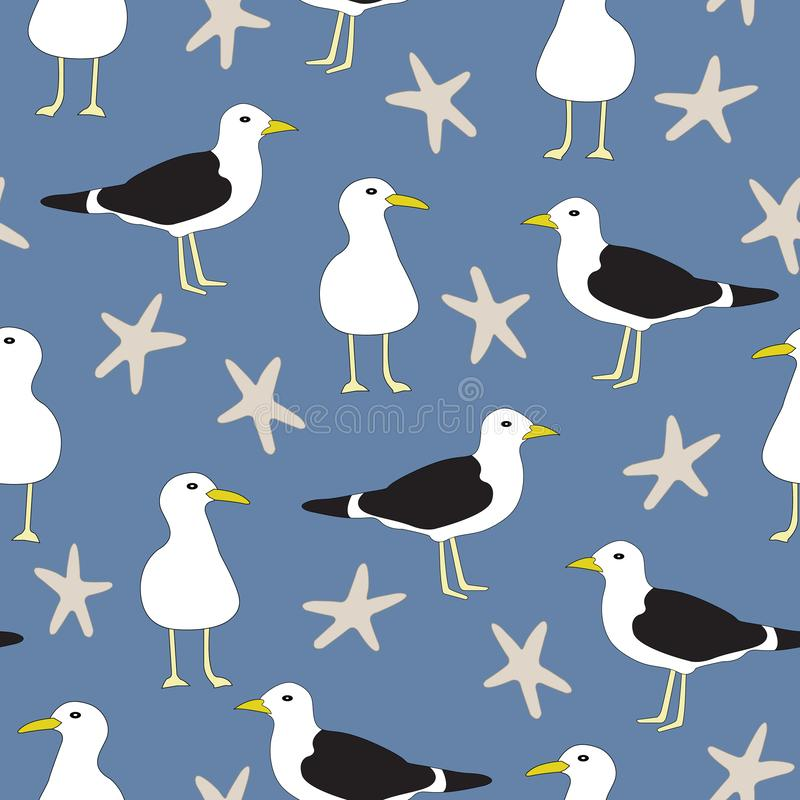 Vector Seagulls and Star Fish in Blue, White and Brown Seamless Repeat Pattern stock illustration
