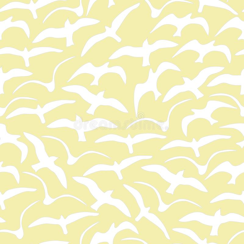 Vector Seagulls Yellow and White Seamless Repeat Pattern royalty free illustration