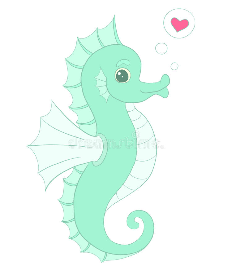 Vector seahorse with heart, in love illustration. vector illustration