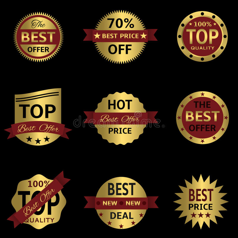 Vector seals-stickers set. Vector golden badges and labels with red ribbons on the black background royalty free illustration