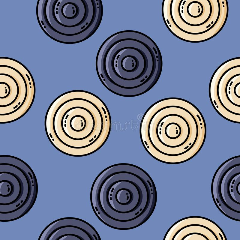 Vector seamles pattern with circles in retro colors. Vector seamles pattern with circles royalty free illustration