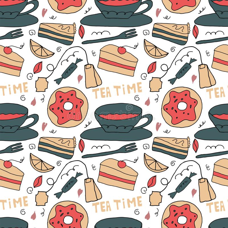Vector seamles pattern with sweets, cakes and tea. Tea time concept vector illustration