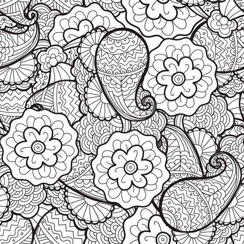 Vector seamless abstract floral pattern, fabric, background. Black and white, coloring vector illustration