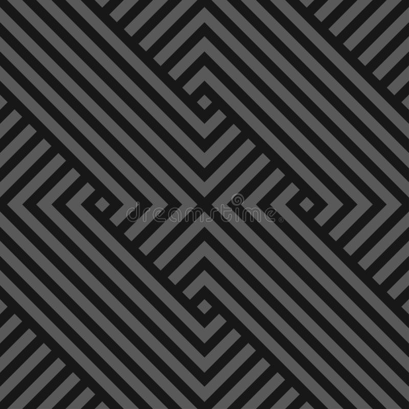 Vector seamless abstract geometric pattern - dark gray striped texture. Endless linear background. Monochrome design. royalty free illustration