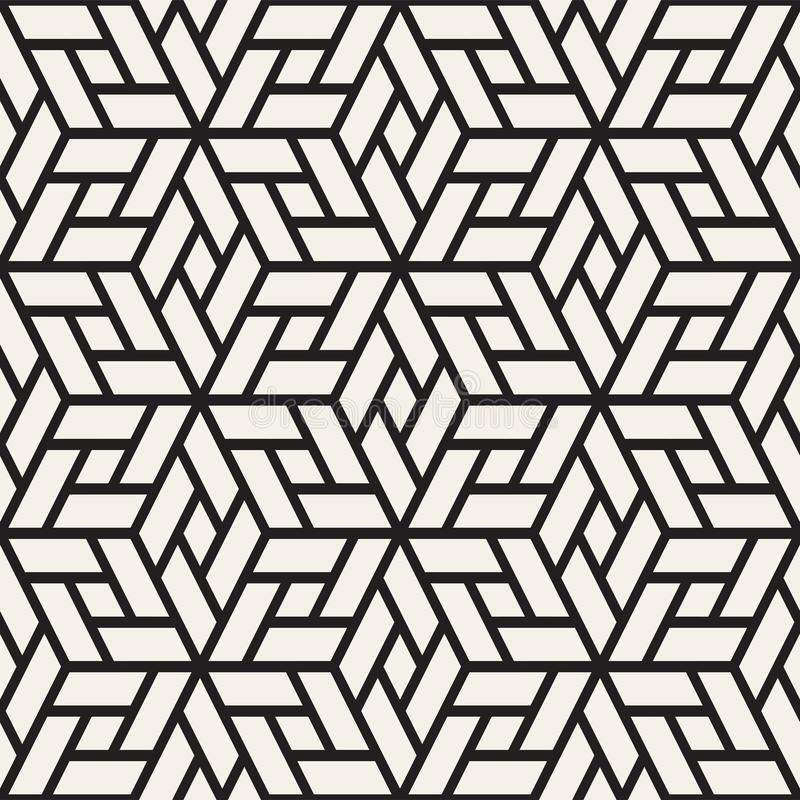 Vector seamless pattern. Modern stylish lattice texture. Repeating geometric background. Cubes with mosaic faces. royalty free illustration