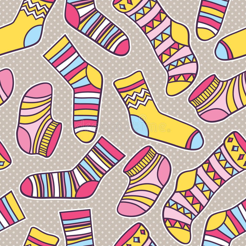 Vector seamless abstract pattern with socks stock illustration