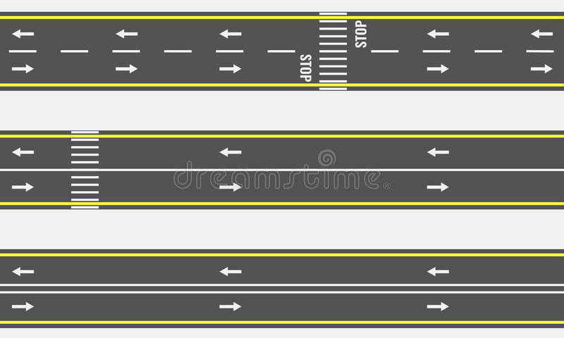 Vector Seamless asphalt road and highway types from top view. Seamless asphalt road and highway types from top view. Vector illustration stock illustration