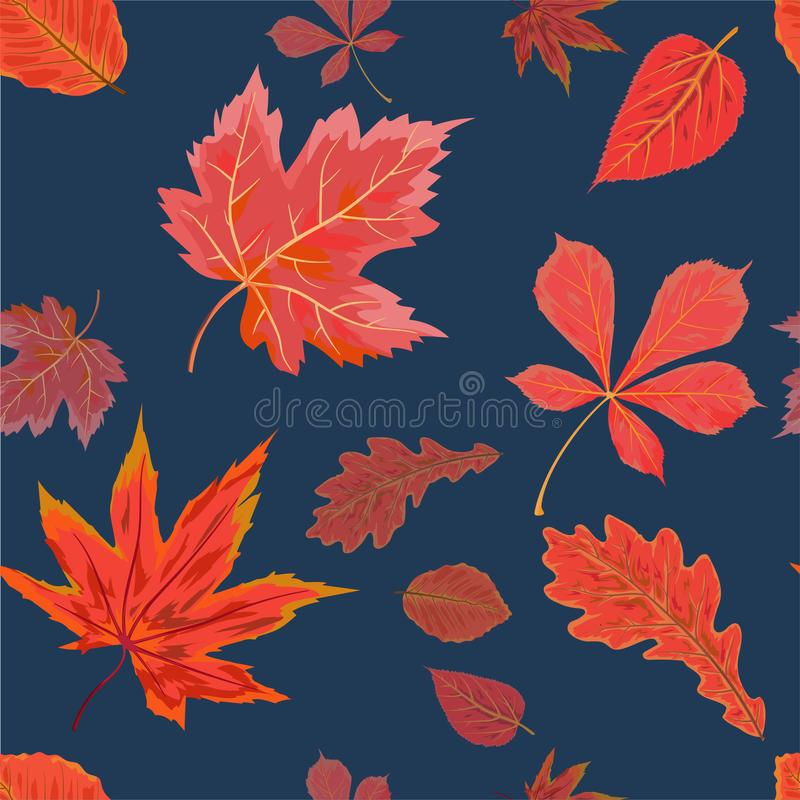 Vector Seamless Autumn fall season patten background floral watercolor style with colorful falling red orange leaves of forest m. Aple, chestnut tree. Decorative vector illustration
