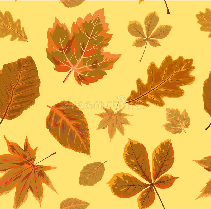 Vector Seamless Autumn fall season patten background floral watercolor style with colorful falling orange brown leaves of forest. Maple, oak tree. Decorative royalty free illustration