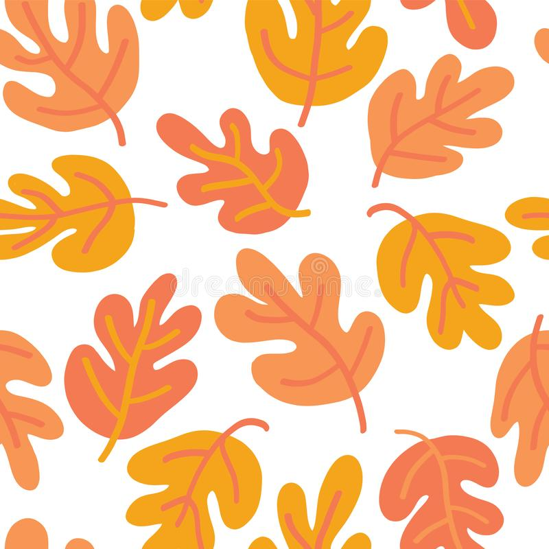 Vector seamless Autumn pattern of fall leaves. Oak leaf seaonal background red, yellow, gold, and white for textile, digital paper royalty free illustration