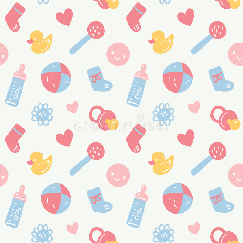 Vector seamless baby pattern with toys, smileys, bottel, socks, harts and flowers on white stock illustration
