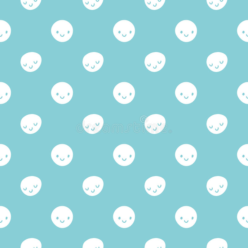 Vector seamless baby polka dots pattern with smileys. Blue and white colors royalty free illustration