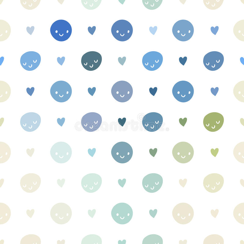 Vector seamless baby polka dots pattern with smileys. Pink, blue, green, turquoise and white colors stock illustration