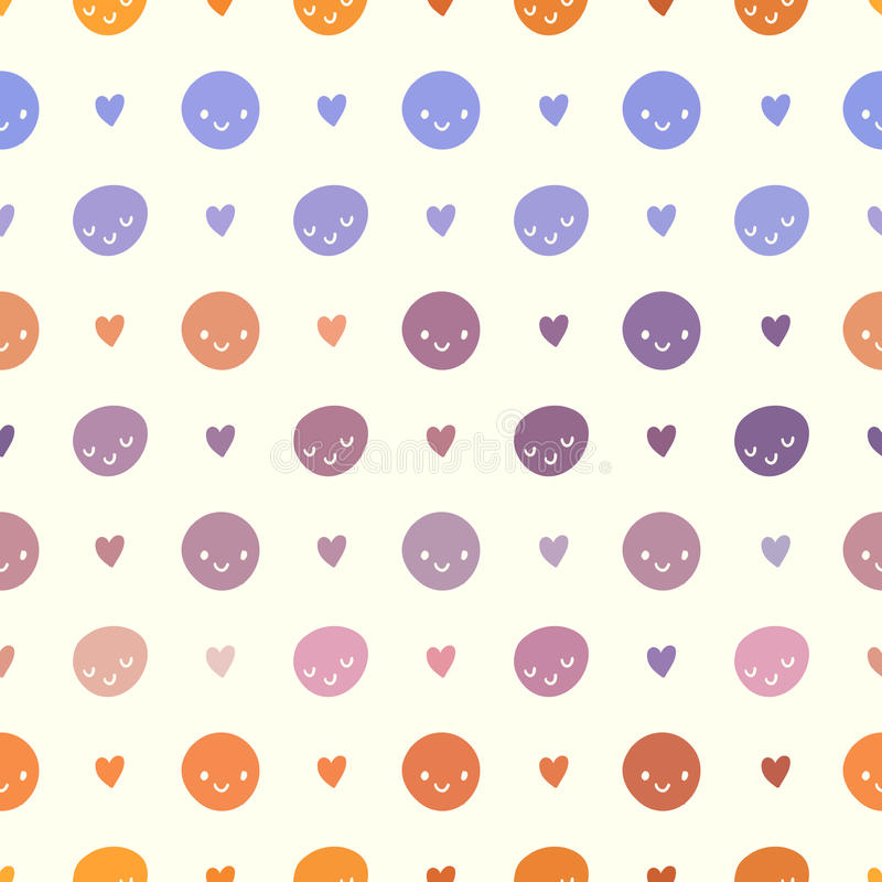 Vector seamless baby polka dots pattern with smileys. Pink, violet, orange and white colors royalty free illustration
