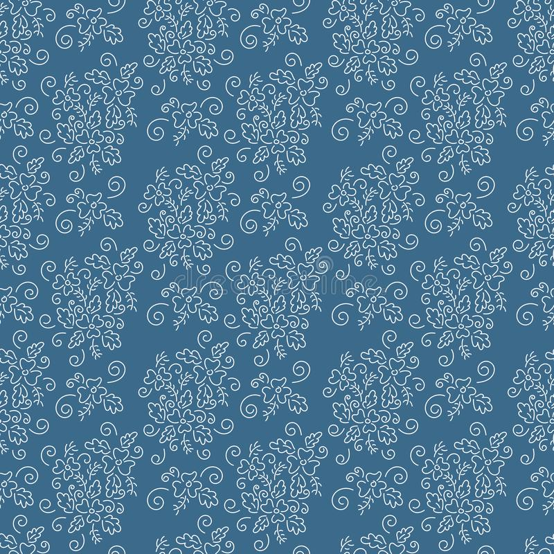 Vector Seamless background, bouquets of delicate white flowers on a blue background, prints for fabrics vector illustration
