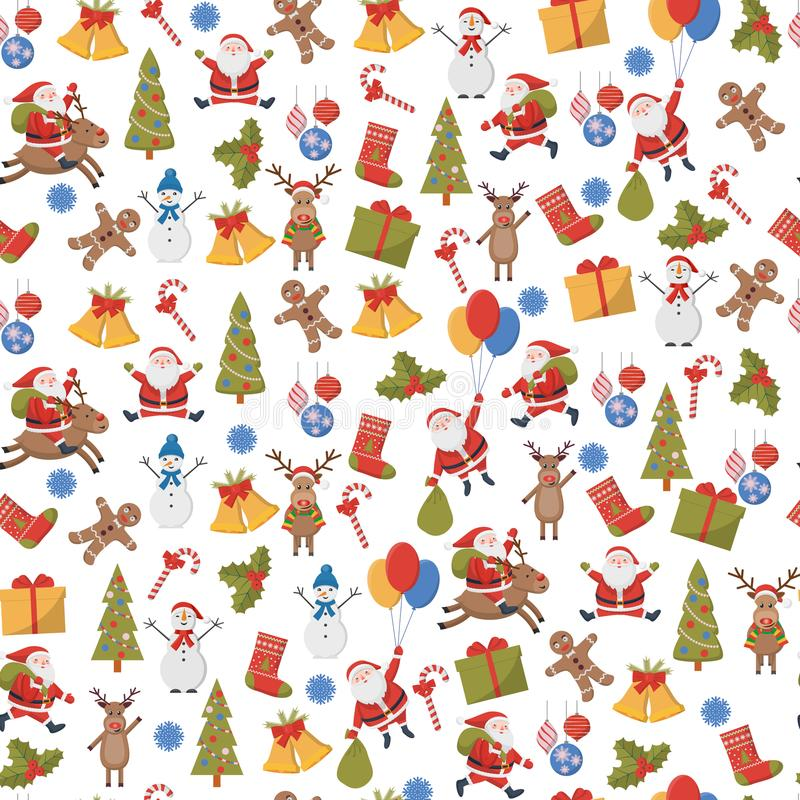 Seamless background with Christmas and New Year symbols stock illustration