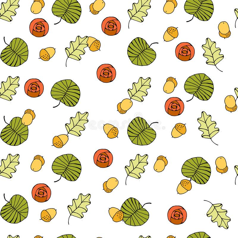 Vector seamless background with colored leaves vector illustration
