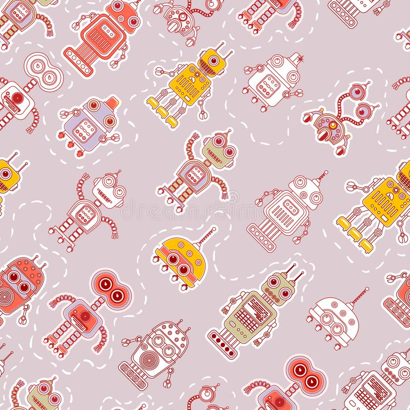 Seamless pattern with cute robots vector illustration