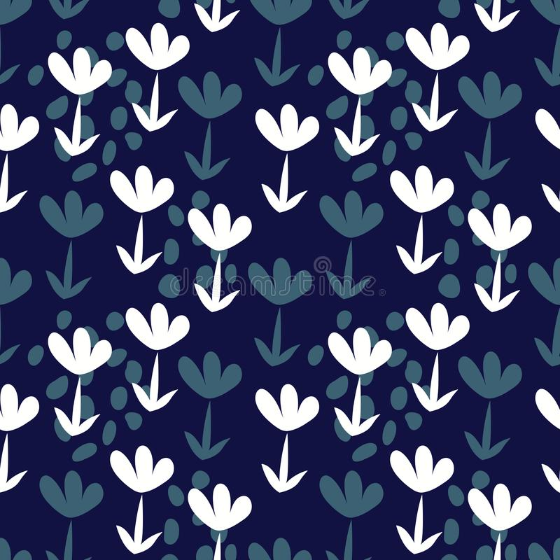 Vector seamless background with hand-drawn flowers, Botanical white and blue illustrations, floral elements, repeating background stock illustration