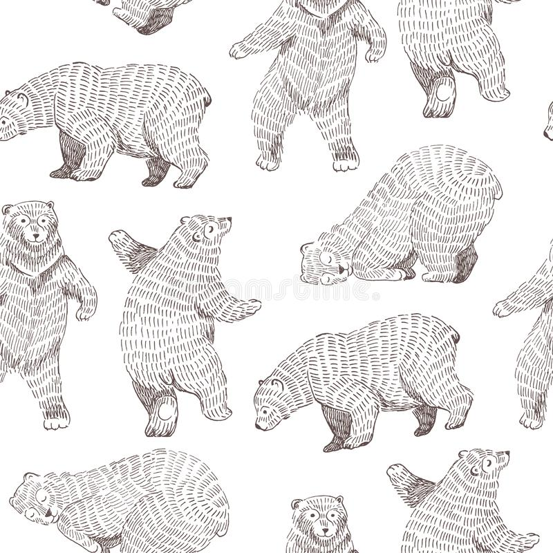 Vector seamless background with hand drawn funny bears. Hipster design. stock illustration