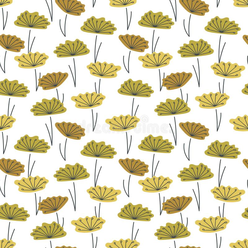 Vector Seamless background. Hand drawn simple stylized flowers and many stamens. Heads of colors of different shades royalty free stock photo