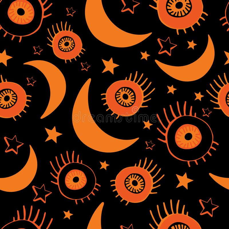 Vector seamless background for happy Halloween. Background of night sky, moon, stars and eyes. Design for textile, paper, stock illustration