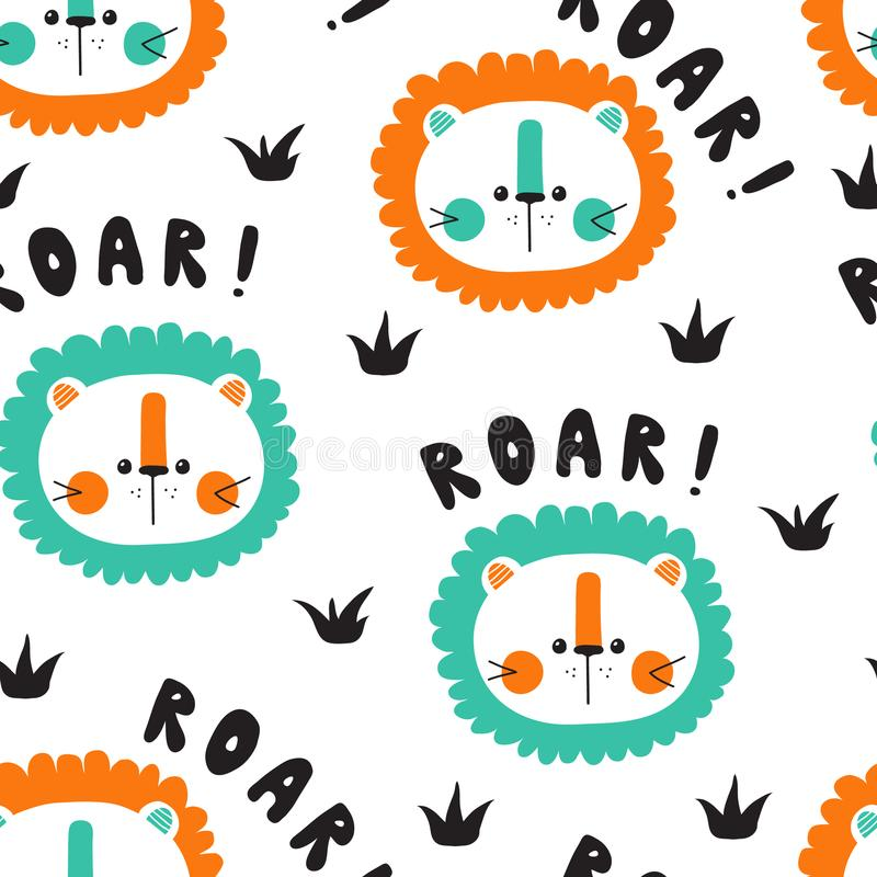 Roar with cute baby lions stock illustration