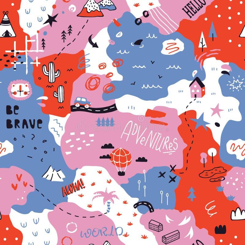 Map in scandinavian style stock illustration