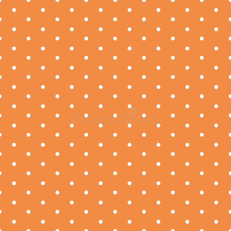 Vector seamless background with polka dot ornament made in autumn orange color royalty free illustration