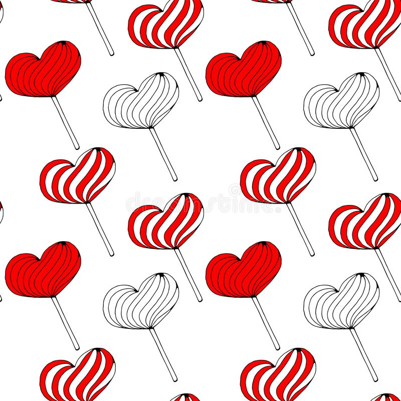 Vector seamless background with red lollipop candies in the form of hearts on white background. love, romantic or stock photos