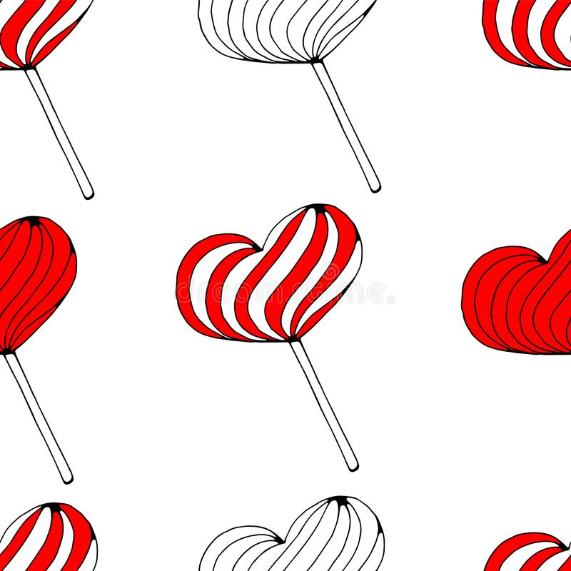 Vector seamless background with red lollipop candies in the form of hearts on white background. love, romantic or royalty free stock images