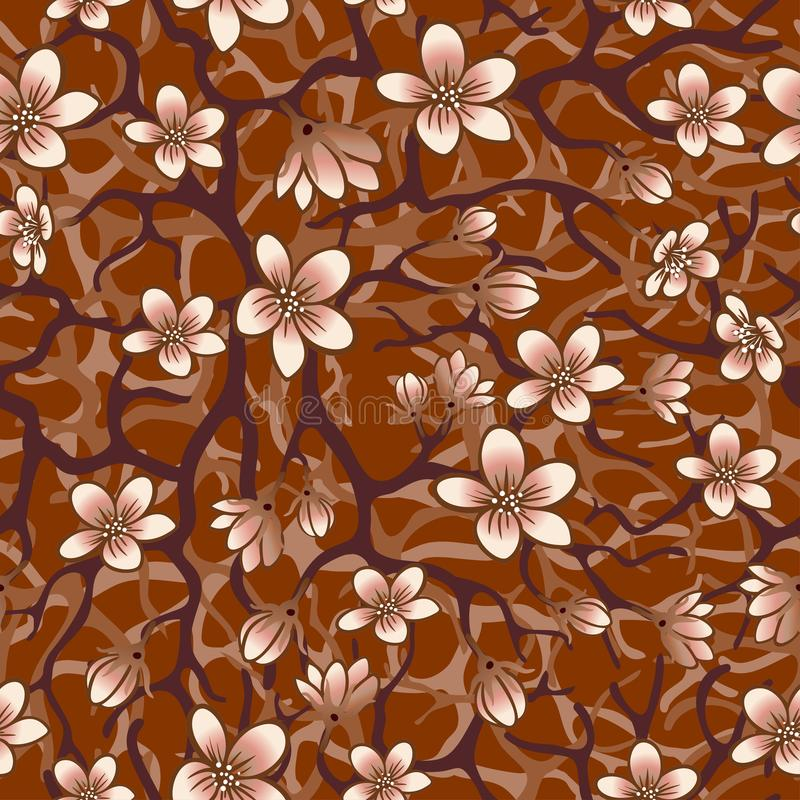 Vector seamless background with sakura blossoms, brunches and foliage. Eps outlined illustration in shades of brown. vector illustration