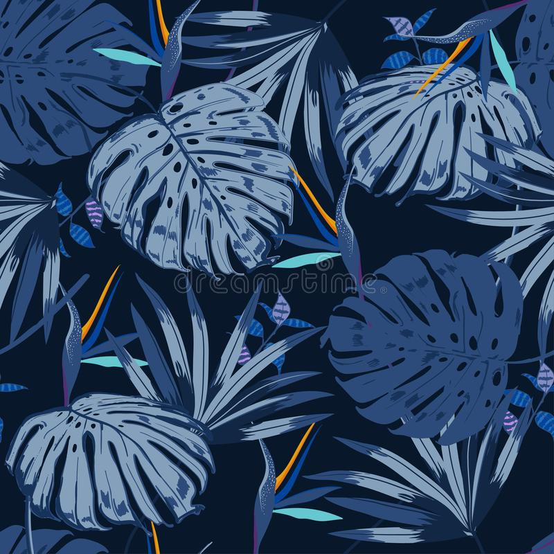 Vector seamless beautiful artistic blue tropical pattern with ex royalty free illustration